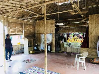 Bamboo temple and yoga area