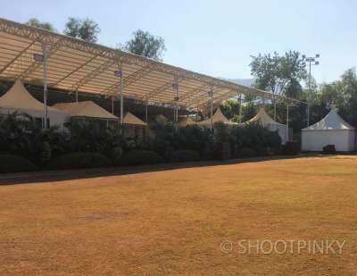 Courtyard lawn and tents